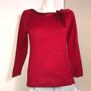 Clothing Co. Rose Red Silk Bow Rayon Knit Sweater